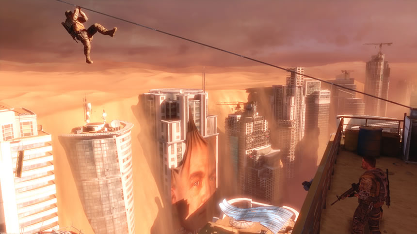 Rappelling over a sand-coated Dubai in Spec Ops The Line